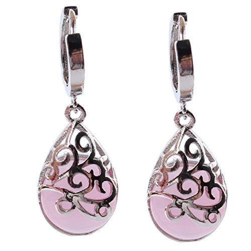 ICUTEDIY 1 Pair Faux Moonlight Opal Tears Drop Earrings Stone Drop Dangle Earrings Jewelry for Women Teen Girls, Pink