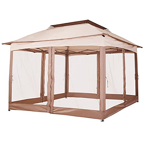 Outsunny 11' x 11' Pop Up Gazebo Canopy with 2-Tier Soft Top, Removable Zipper Netting, Event Tent with Large Space Shade, Portable Travel Storage Bag for Patio Backyard Garden