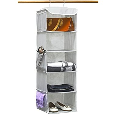 SimpleHouseware 5 Shelves Hanging Closet Organizer, Gray