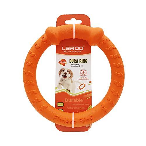 LaRoo Hundefitness-Ring Hundefrisbee, unzerstörbare Float Hunde Flugscheibe Spielzeug, Sommer Pet Training für Mittelgroße und kleine Hunde. (Orange 18 cm)