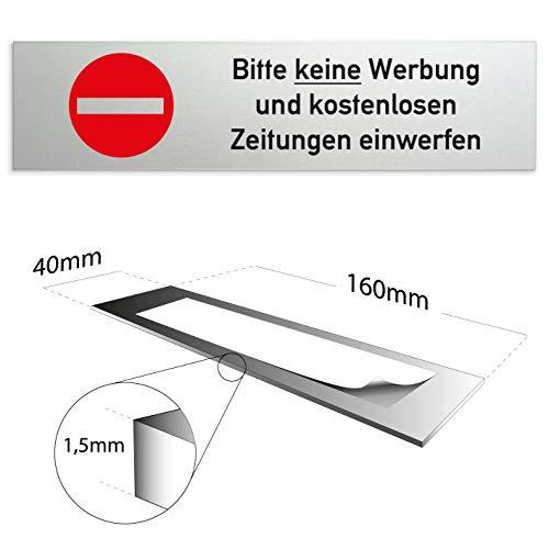 Kinekt3d Leitsysteme Schild 160 x 40 x 1,5 mm - Aluminium Vollmaterial eloxiert - Oberfläche in geschliffener Edelstahloptik (Bitte keine Werbung und kostenlosen Zeitungen einwerfen)