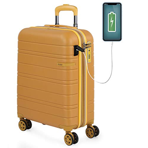 JASLEN - Maleta Cabina Avion Pequeña con 4 Ruedas 55x40x20 Extensible Hombre Mujer Rígida [Conector para Carga USB] Trolley Equipaje de Mano Candado con Seguridad TSA 171250, Color Mostaza