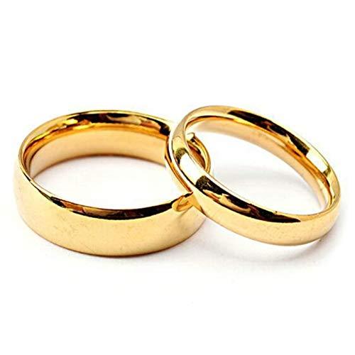 Coniea Eheringe mit Gravur 4/6Mm Breite Gold Polierter Ring Komfort Fit Damen Gr.62 (19.7) und Herren Gr.49 (15.6)