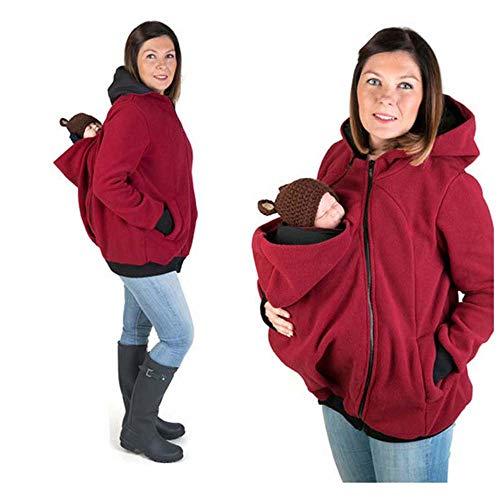 Donna Felpa Premaman Abbigliamento Premaman Pile del Portare Neonato Bambino Davanti Posteriore,Red,S