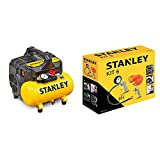 STANLEY DST 100/8/6 - Compressore Silenzioso (59dB) &Kit 6 Pezzi Set per Aria Compressa - Kit