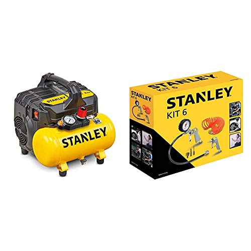 Stanley DST 100/8/6 Compresseur silencieux 59 dB, B2BE104STN703, Giallo Stanley & 9045717STN...