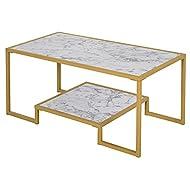 HOMCOM Minimalist Art Deco Coffee Table with Laminate Marble Print Table Top & Underneath Storage Shelf, White & Gold