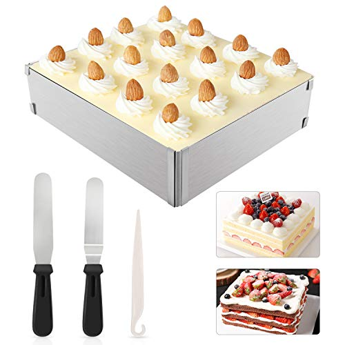 WisFox Molde para mousse ajustable de acero inoxidable, rectangular, marco de mousse, molde para tartas, set de 2 espátulas de glaseado y 1 cuchillo