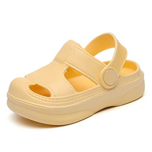 MEMON Baby Boys Girls Clogs Slippers Toddler Slip On Lightweight Sandals Shockproof Girls Summer Pool Beach Shoe(ME2011-yel-13)