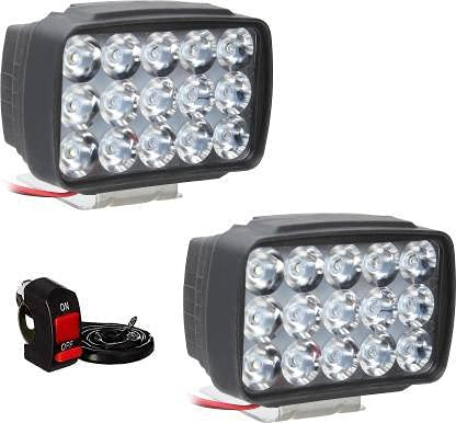 Petrox 15 Led White Bike Led Light Driving Waterproof Headlights Fog Lamp Lighting Accessories Anti-Fog Spot Light Auxiliary Headlight with Switch For All Bikes and Cars - Pack of 2
