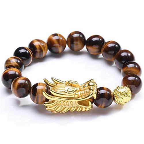 Feng Shui Wealth Bracelet Natural Tiger Eye Bracelet with Gold Dragon Head Ornament Heart Sutra Buddha Bead Bracelet Attract Good Luck Money Jade Bangle Gift for Men/Women