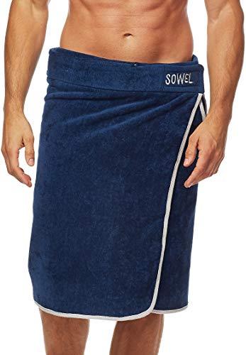 Sowel® Saunakilt Herren, 100% Bio-Baumwolle, Saunahandtuch mit Klettverschluss, Saunatuch, 60 x 140 cm, Navy/Grau