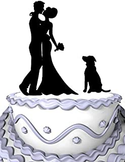 Meijiafei Rustic Wedding Bride and Groom Silhouette Wedding Cake Topper with Dog Pet