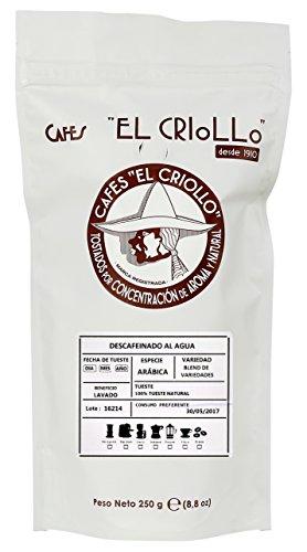 Cafés El Criollo Café en Grano Descafeinado al Agua - Paquete de 4 x 250 gr - Total: 1000 gr