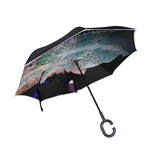 Jnseff Double Layer Inverted Panther Chameleon Chameleon Tired Head Close Up Umbrellas Reverse Folding Umbrella Windproof Uv Protection Big Straight Umbrella for Car Rain Outdoor with C-Shaped Handle