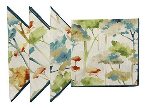 "18""x18 Cotton Printed Teal Rust Green Multi Color Bonsai Tree Design Fabric Napkins, Set of 4"