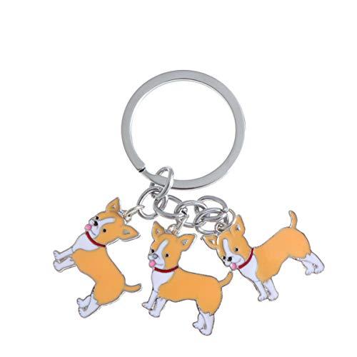 VOSAREA hund anhänger schlüsselanhänger niedlich chihuahua auto schlüsselanhänger welpen tasche handtasche brieftasche charme anhänger rucksack zubehör pet schmuck geschenke (gelb)