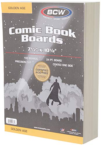 BCW-BBGOL -Golden Age Size Comic Backing Boards - 100 Boards