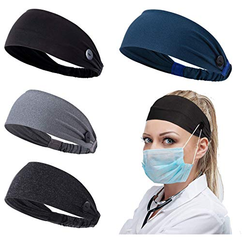Women Headband with Buttons for Face Masks and Covers Unisex Elastic Hair Band for Nurses Doctors and Ears Protection (1- 4 color)