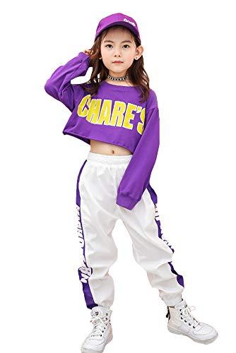 LOLANTA Mädchen Hip Hop Kleidung Kinder Street Dance Outfits Kurzes Sweatshirt, Seitenstreifenhose, Trainingsanzug-Set (Violett, 152 (10-11 Jahre))