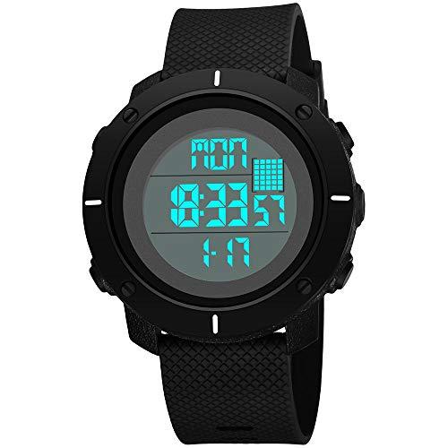 WangLx Watch Digitaluhr der Kinder, Sport im Freien, Schrittzähler Funktionsjungen-Mädchen Wasserdichte Sportuhr Digitaluhr stoßsichere Uhr mit LED-Lichtwecker Stoppuhr, Black