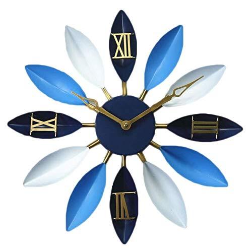 LHBNH Wall Clock Vintage Wrought Iron Wall Clock, The Mediterranean Leaves, Wall Clock, Living Room, Decorated in Petals, Creative Clock Clock Creative Wall Wall Clock, Home Art Deco Wall Clock