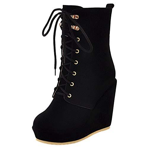 BeiaMina Damen Mode Keilabsatz Ankle Boots Plateau Kurzschaft Stiefel Herbst Winter Schuhe Black Gr 36 Asian