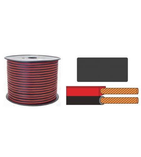 Cavo parallelo 2 x 0,50 mm rosso/nero polarizzato (Bobina da 100 metri) K24070