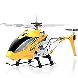 RC Helicopter, Avion avec 3.5 canaux, plus grande taille, robuste en alliage Matériel, stabilisateur gyroscopique, Drone multi-protection pour les enfants et les débutants à jouer à l'intérieur,Jaune