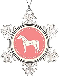 Delia32Agnes Arabian Horse Silhouette Snowflake Christmas Ornaments Pewter for Christmas Decorations