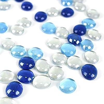 FUTUREPLUSX Flat Glass Marbles 1Lb, 100PCS Fill 0.3L Vol. Premium Blue Mixed Color Flat Gems Aquarium Pebbles Vase Filler Beads Table Scatter Décor