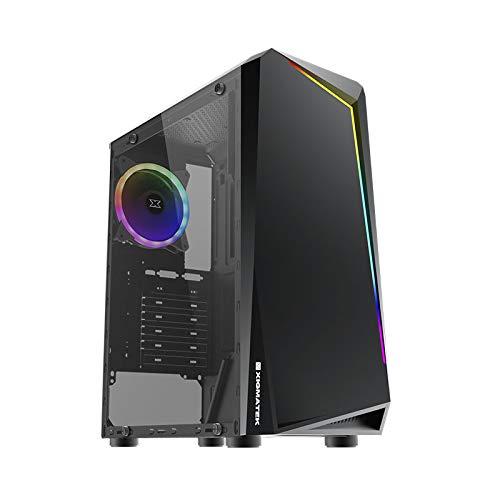 Xigmatek Vortex Rainbow LED - ATX – Caja PC Gaming – Elegante Panel Frontal con Rayas RGB y Vidrio Templado Lateral Izquierdo – Caja de Ordenador