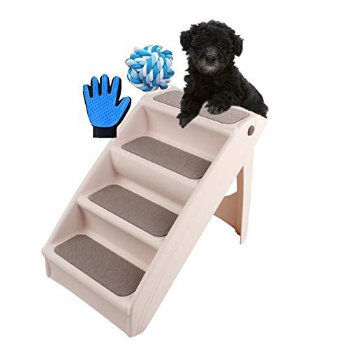 Escaleras de plástico plegables para mascotas, diseño duradero de cuatro escalones para interiores o exteriores, función de seguridad incorporada, adecuada para perros y gatos para viajar a casa, colo