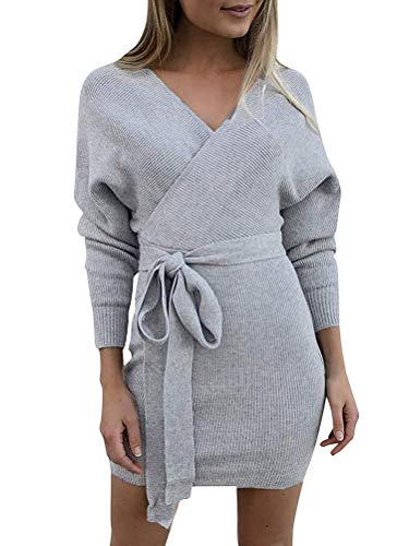 Minetom Damen Kleider Kurz Strickkleid Herbst Winter Casual Mode Sexy V Ausschnitt Rückenfrei Langarm Dress Mit Gürtel Grau DE 40