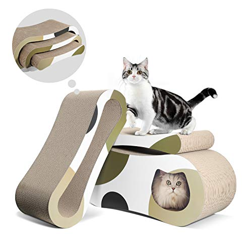 ComSaf 3-in-1 Kratzbrett für Katzen, Katzen Spielzeug, Kratzmöbel Wellpappe Kratzmatten, Recycelbar Kratzpad aus Qualitäts-Pappe, 3er-Set
