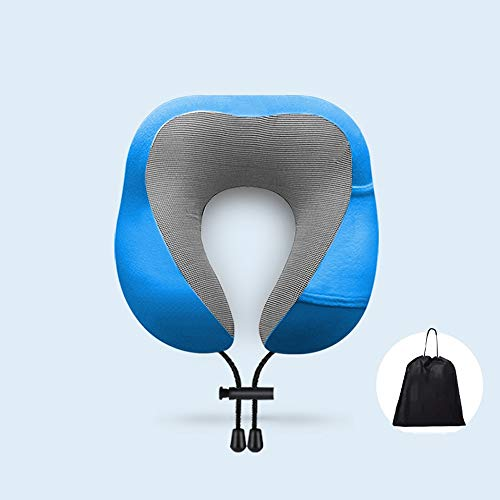 Slefpt Reisekissen, 100{f38c9dc2b2d22bac93ed5223dea7d207e0143749235a0981ca4caf361ebf479b} Pure Memory Foam Nackenkissen, Nackenstütze, geeignet for Büro/Reise/Flugzeug/Auto, for Herren Damen (Color : Royal blue-A)