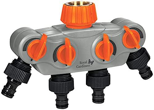 Royal Gardineer Wasserverteiler Schlauch: Regulierbarer 4-Fach-Garten-Wasserverteiler mit Metall-Anschluss (Wasserverteiler Gartenschlauch)
