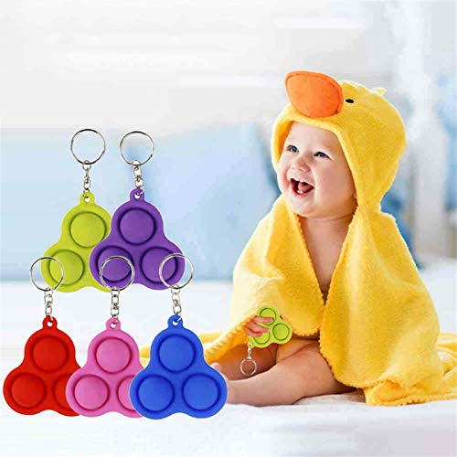 LASULEN Fidget Simple Dimple Toy Stress Relief Hand Toys for Kids Adults, Push Pop Bubble Fidget Sensory Toy Simple Dimple, Anti-Anxiety Tools Bundle, Key Chain Featuring Easily Attaches to Keys