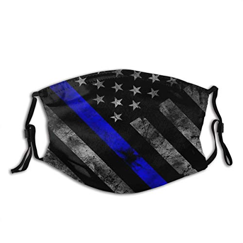 Thin Blue Line Police Flag Anti Dust Mouth Cover Face Scarf Bandanas Neck Gaiter with Filter Washable and Reusable