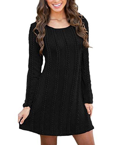 Auxo Mujer Vestidos Suéteres Elegante Largo Manga Talla Grande Vestido Largo Casual Otoño Invierno Color Sólido Sweater Jerseys F-Negro XL
