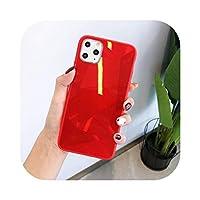 Yokkg 3D菱形ジオメトリダイヤモンドパターンiphone用電話ケース1111Pro Max XR XS 7 8 6SPlusミラーキャンディーカラーバックカバーケース-Red-For iphone 8Plus