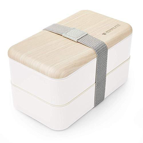 Thousanday Fiambrera Bento Bambú Blanco | Apilable Design con 2 Cubiertos | Bento Box 2 Compartimentos Estancos 1200 ml | Microondas y Lavavajillas | Bento Box Adultos o Niños