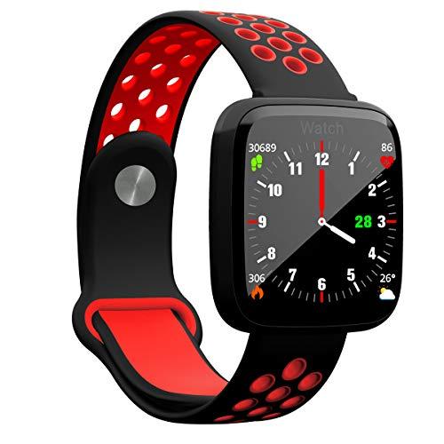 Smartwatch met groot kleurendisplay en weersvoorspelling, bloeddruk- hartslagmonitor, stappenteller, voor iPhone, Android en iOS, rood