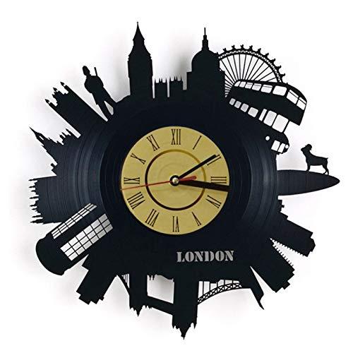 wtnhz LED Reloj de Pared de Vinilo Colorido Reloj de Pared con Disco de Vinilo de Londres: Decora tu hogar con Arte Moderno, Hombres, Mujeres, Novios y Novias
