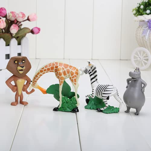 Anime Madagascar Alex Gloria Marty Melman PVC Figura de acción Juguetes Juguetes Colectores Modelo Muñecas Cumpleaños para niños 4 PCS