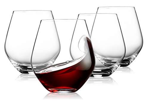 Godinger Wine Glasses, Stemless Wine Glass Goblet Beverage Drinking Cups, European Made - 17oz, Set of 4