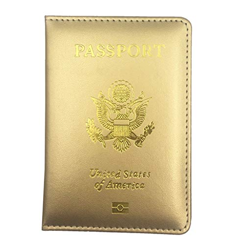 Pakala66 PU Leather Passport Cover with Gold USA Logo Printed for Travel (N-GD-Champagne)