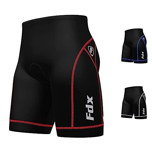 FDX Uomo qualità–Pantaloni da ciclismo anti BAC Imbottitura Outdoor Cycle Gear Tight Pantaloncini, FDX-990, nero/rosso, XXL
