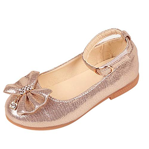 WWricotta Children Infant Kids Baby Girls Bowknot Crystal Dance Shallow Single Shoes(Gold,32)