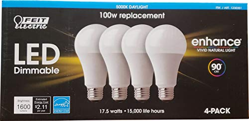 Feit Electric Led 100 W Dimmable Replacement 4 Pack Daylight Netcount 4 in Pack, 4Count